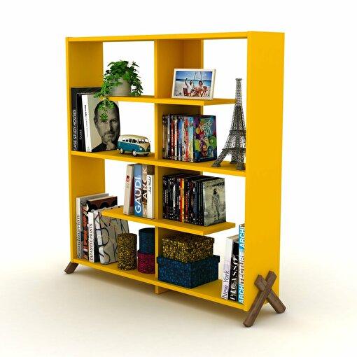 Rafevi Kipp Kitaplık Ceviz-Sarı. ürün görseli