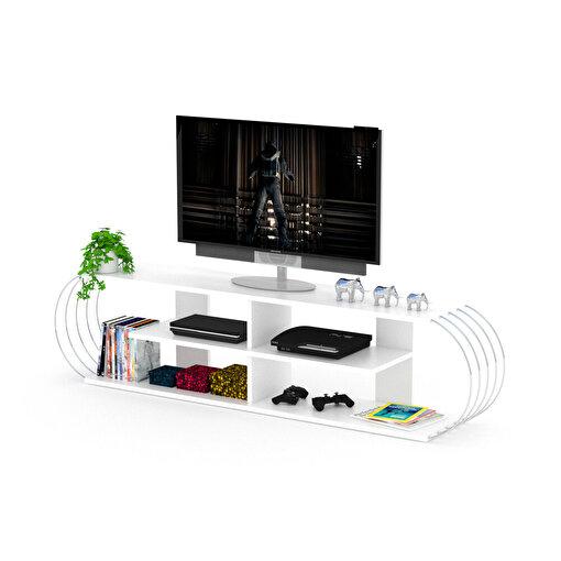 Rafevi Case TV Ünitesi Beyaz-Krom. ürün görseli
