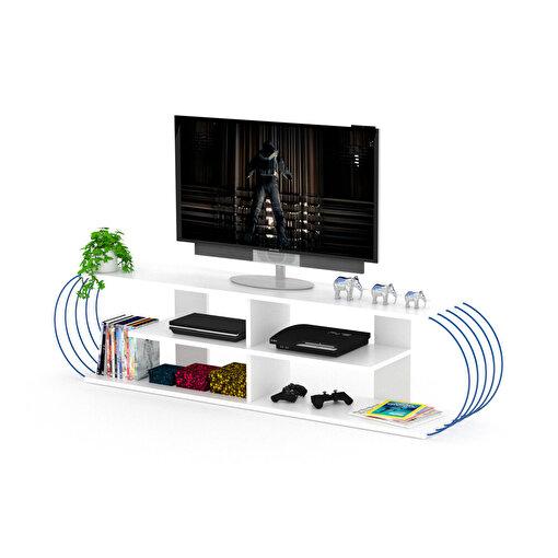 Rafevi Case TV Ünitesi Beyaz-Mavi. ürün görseli