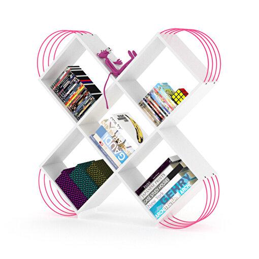 Rafevi Case Kitaplık Beyaz-Pembe. ürün görseli