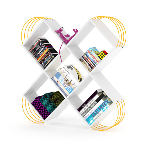 Rafevi Case Kitaplık Beyaz-Sarı. ürün görseli