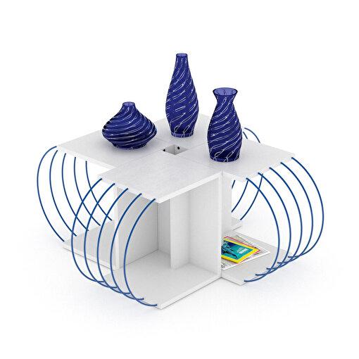 Rafevi Case 4'lü Orta Sehpa Beyaz-Mavi. ürün görseli