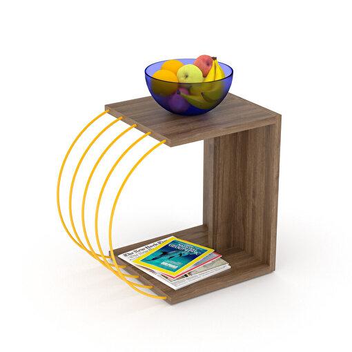 Rafevi Case Yan Sehpa Ceviz-Sarı. ürün görseli