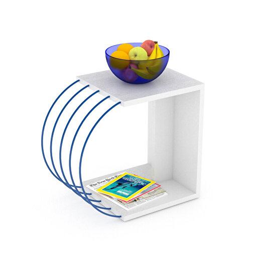 Rafevi Case Yan Sehpa Beyaz-Mavi. ürün görseli