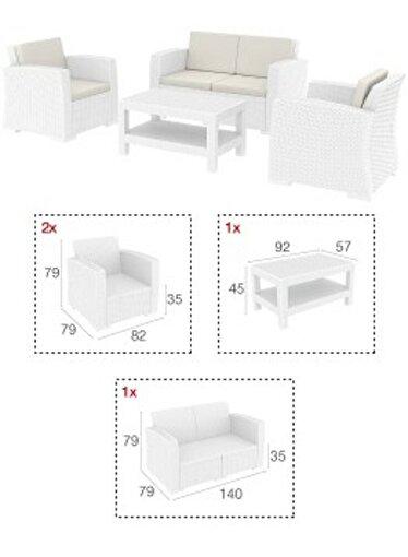 Siesta Monaco Lounge Koltuk Seti Beyaz. ürün görseli