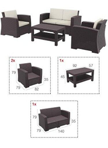 Siesta Monaco Lounge Koltuk Seti Kahverengi. ürün görseli
