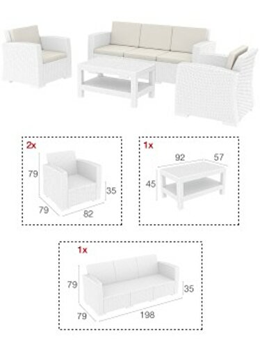 Siesta Monaco Lounge Koltuk Seti Xl Beyaz. ürün görseli