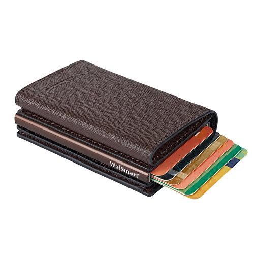 WalSmart Pro Safiano Akıllı MekanizmalıDeri Cüzdan WPS02 Kahverengi. ürün görseli