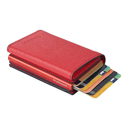 WalSmart Pro Safiano Akıllı MekanizmalıDeri Cüzdan WPS06 Kırmızı. ürün görseli