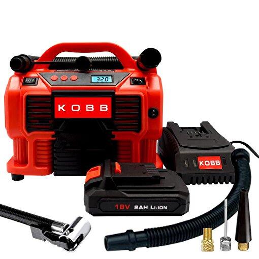 KOBB KB500 12Volt/220Volt/18Volt 2Ah Li-ion Şarjlı Dijital Basınç Göstergeli Lastik & Yatak Şişirme Pompası. ürün görseli