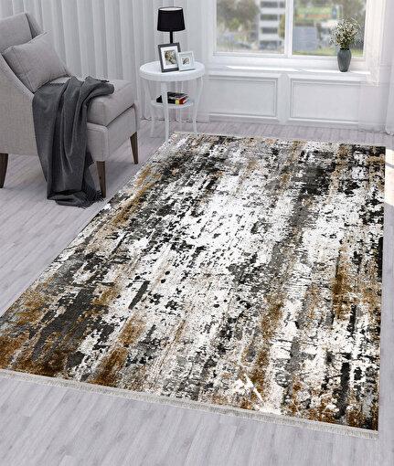 Koza Pera Siyah Vizon Akrilik Halı 45656A,80 x 150. ürün görseli