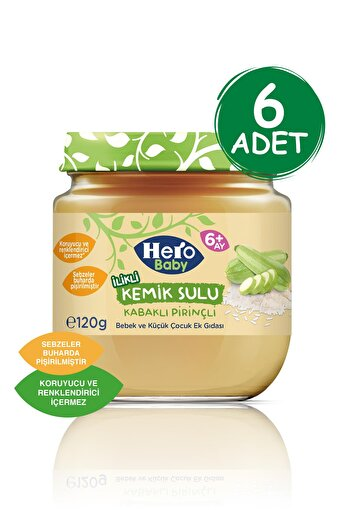 Hero Baby Kemik Sulu Kabaklı Pirinçli Kavanoz Mama 120g 6 Adet. ürün görseli