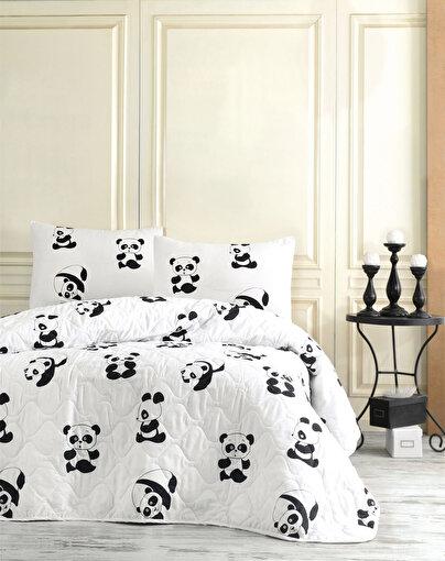 Kapitone Yatak Örtüsü Seti Çift Kişilik B&W Panda. ürün görseli