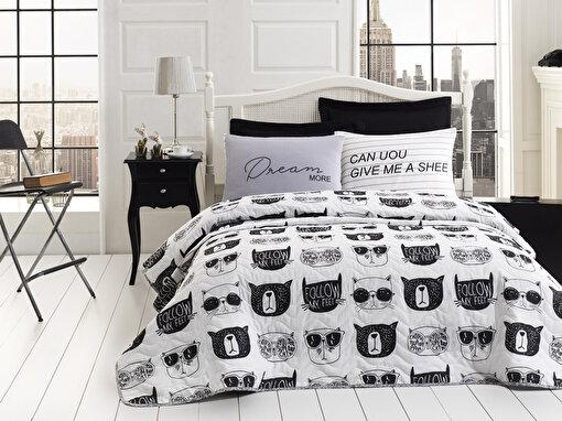 Eponj Home Kapitone Yatak Örtüsü Seti Tek Kişilik B&W Melone Siyah-Beyaz. ürün görseli