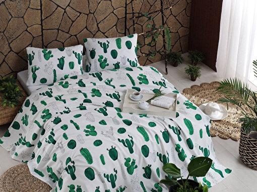 Baskılı Pike Takımı Çift Kişilik Kaktüs Yeşil. ürün görseli