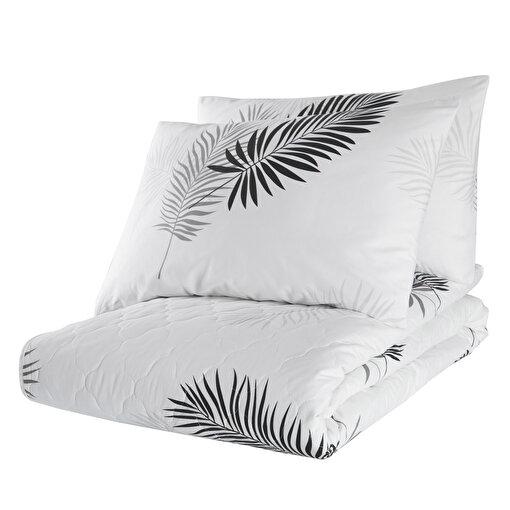Enlora %100 Doğal Pamuk Kapitoneli Yatak Örtüsü Seti Çift Kişilik Pipong Beyaz-Gri. ürün görseli