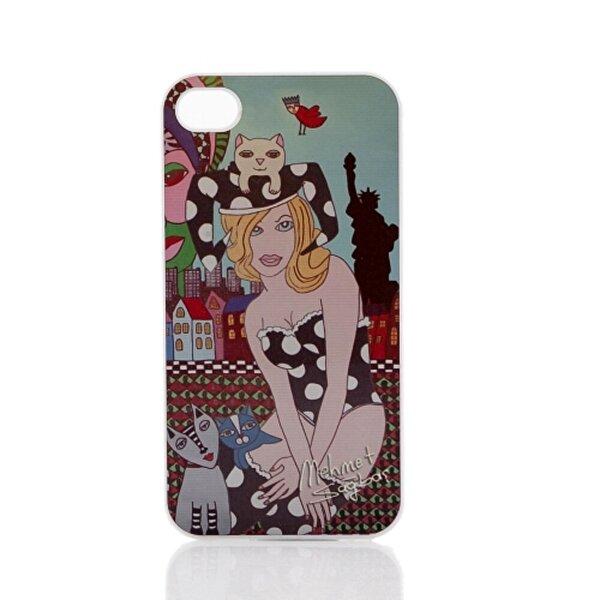 Biggdesign iPhone 4/4S Beyaz Kapak Kedili Kız. ürün görseli