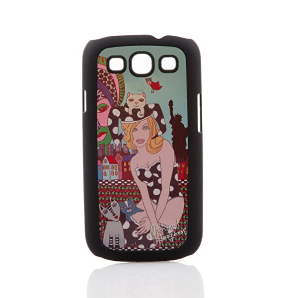 BiggDesign Galaxy S3 Siyah Kapak Kedili Kız. ürün görseli