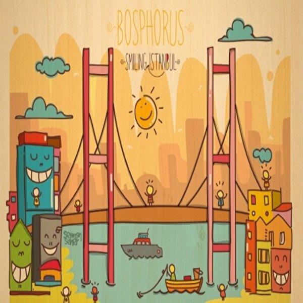 Biggdesign Smiling İstanbul Boğaz Ahşap Kartpostal. ürün görseli