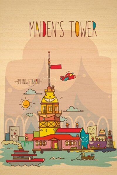 Biggdesign Smiling İstanbul Kız Kulesi Ahşap Kartpostal. ürün görseli