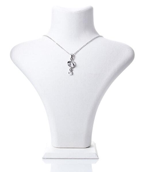 Biggbijoux Barkıel Taşlı Kolye-Gümüş Renkli. ürün görseli