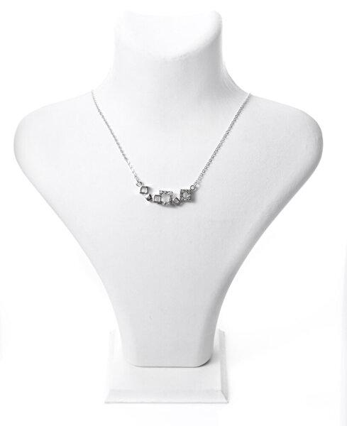 Biggbijoux Barkıel Üç Kare Taşlı Kolye-Gümüş Renkli. ürün görseli