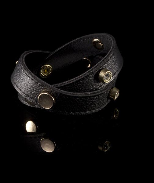 Biggbijoux Hathor Taşlı Deri Bileklik-Siyah Renkli. ürün görseli