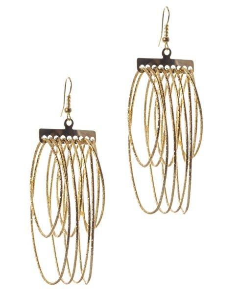 Biggbijoux Lepha Oval Püskül Küpe-Altın Renkli. ürün görseli