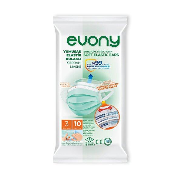 Evony Elastik Kulaklı Cerrahi Maske 10lu. ürün görseli