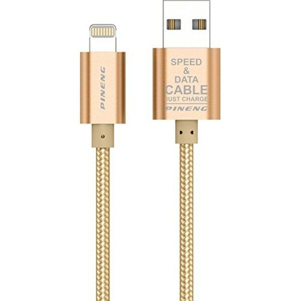 Pineng PN-305 iPhone Lightning 1Metre Örgülü Altın Kablo. ürün görseli