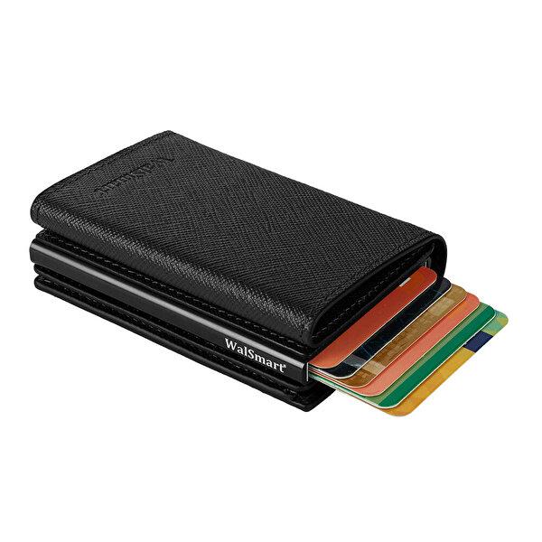WalSmart Pro Safiano Akıllı MekanizmalıDeri Cüzdan WPS01 Siyah. ürün görseli